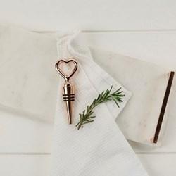 Heart bottle stopper, 12 x 4cm, copper