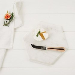 Hexagonal board with knife, 29 x 25.5 x 1.5cm, marble & copper