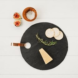 Round hanging serving board, 30 x 30cm, slate with copper hook