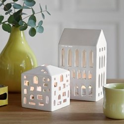 Urbania - Kirke Lighthouse candle holder, H18 x W10cm, white