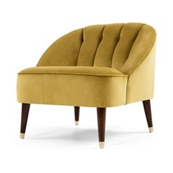 Margot Accent chair, H72 x W77 x D73cm, antique gold velvet