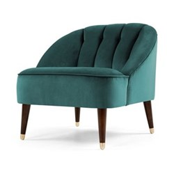Margot Accent chair, H72 x W77 x D73cm, peacock blue velvet