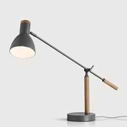 Cohen Table lamp, W65 x D15 x H70cm, deep grey and American oak