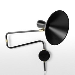 Ogilvy Swing arm wall lamp, H27 x W73 x D22cm, matt black and antique brass