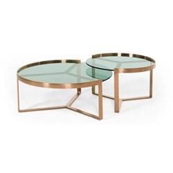 Aula Set of 2 nesting coffee tables, H35 x W90 x W90cm, H40 x W70 x D70cm, copper and green glass