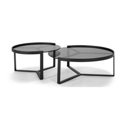 Aula Set of 2 nesting coffee tables, H35 x W90 x W90cm, H40 x W70 x D70cm, black and grey metal and glass