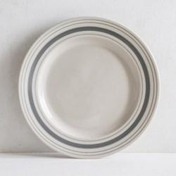 Linen Stripe Dinner plate, 28cm, grey, full glaze