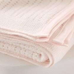 Satin Edged Cellular Cot blanket, 150 x 100cm, pink