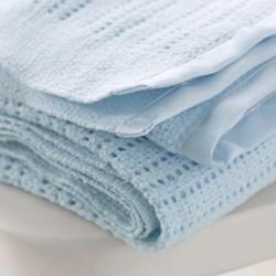 Satin Edged Cellular Pram blanket, 75 x 100cm, blue