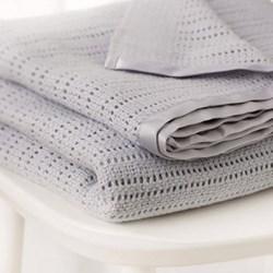 Satin Edged Cellular Cot blanket, 150 x 100cm, grey