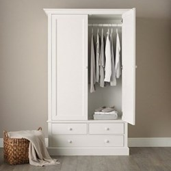 Classic Large wardrobe, H206 x W124 x D57cm, white