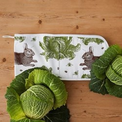 Classic Rabbit & Cabbage Double oven gloves, 20 x 84cm