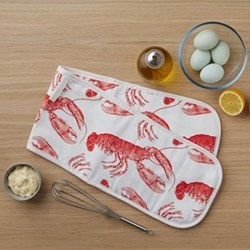 Lobster Double oven gloves, 20 x 84cm, coral