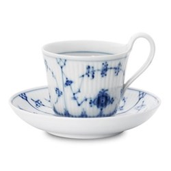 Blue Fluted Plain Teacup and saucer, 24cl