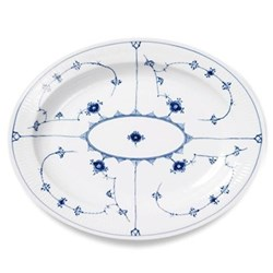 Blue Fluted Plain Oval dish, 36.5cm