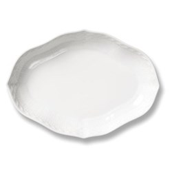 White Fluted Half Lace Rectangular dish, 22cm