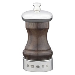 Rosewood Cap and Band Pepper mill, 10.2cm, rosewood and sterling silver