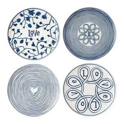 Ellen DeGeneres - Love Set Set of 4 side plates, D21cm, white/grey