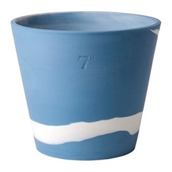 Burlington Planter, 17cm, white/pale blue