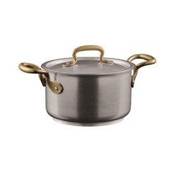 1965 Vintage Sauce pot with lid, 1.9 litre - D16 x H9.5cm, stainless steel