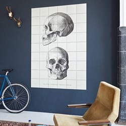 Art - The Skull Wall decoration, 80 x 120cm, black and white