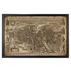 Antique early Paris framed map, W130 x H85cm, multi