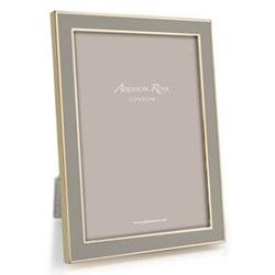 "Enamel Range Photograph frame, 5 x 7"" with 15mm border, taupe with gold plate"