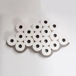 Cloud Concrete wall-mounted toilet roll shelf, L74 x W10 x H17cm, concrete