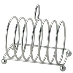 Toast rack, 6 slot, silver plate