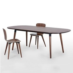 Edelweiss Extending dining table, H74 x W170 x D95cm, walnut and black