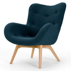 Doris Accent chair, H89 x W74 x D84cm, shetland navy/natural wood