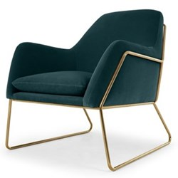 Frame Armchair, H84 x W77 x D88cm, petrol cotton velvet with bright gold frame
