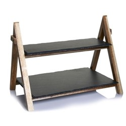 Slate and Wood 2 tier serving stand, H30 x W25.5cm, black