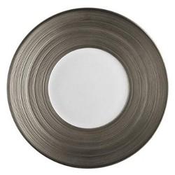 Hemisphere Large round platter, 35cm, full platinum rim