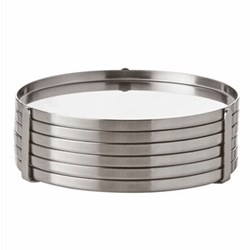 Cylinda-Line by Arne Jacobsen Set of 6 stainless steel coasters, 8.5cm, satin stainless steel