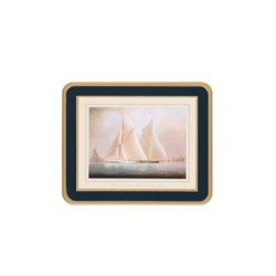 Traditional Range - Racing Yachts Set of 6 coasters with frame line, 11 x 9cm, Oxford blue