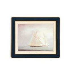 Traditional Range - Racing Yachts Set of 6 tablemats with frame line, 24 x 20cm, Oxford blue