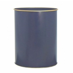 Screened Range Wastepaper bin with hand guilded gold rim, H28cm, Oxford blue