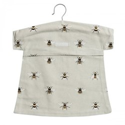 Bees Peg bag, 30 x 30cm, grey