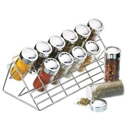 Spice rack with 12 glass jars, chrome plated