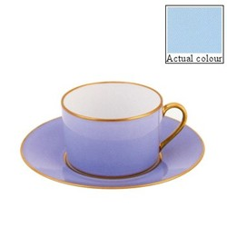 Sous le Soleil Teacup and saucer straight sided, 15cl, opal with classic matt gold band
