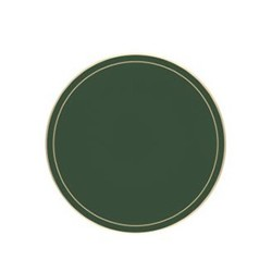 Screened Range Set of 6 round tablemats with frame line, 10cm, bottle green