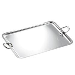Vertigo Rectangular tray with handles, 43 x 31cm, Christofle silver