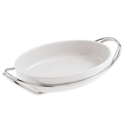 Living Oval serving dish, 44cm, porcelain with stainless steel stand