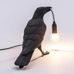 Waiting Bird lamp, 29.5 x 18.5 x 12cm, black