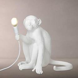 Sitting Monkey Table lamp, H32cm, white resin