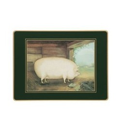 Traditional Range - Naive Animals Set of 4 placemats, 30 x 22cm, bottle green