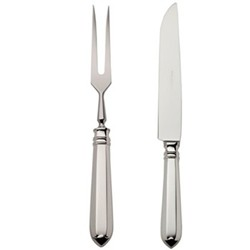 Navette Carving set, silver plate