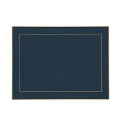 Screened Range Set of 4 continental placemats with frame line, 39 x 29cm, Oxford blue
