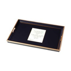 Screened Range Wedding invitation tray with glass base, 55 x 40cm, Oxford blue